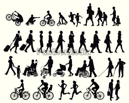 pessoas em movimento e atividades