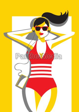 mulher passeio viajar musica praia beira